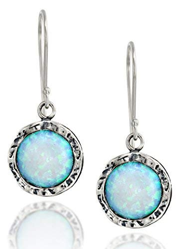(Shimmering Round 925 Sterling Silver Dangle Earrings with 10mm Created White Opal Stone)