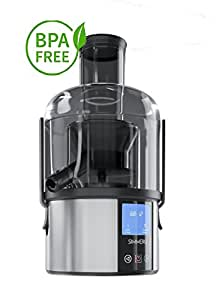 Touchscreen Smart Fruit & Vegetable Juicer by Simmero - Quiet Centrifugal Electric Juice Extractor Machine w/LCD Display - 5 Speed for Citrus, Fruits & Veggies - Mess Free Juicing- Best Holiday Gift