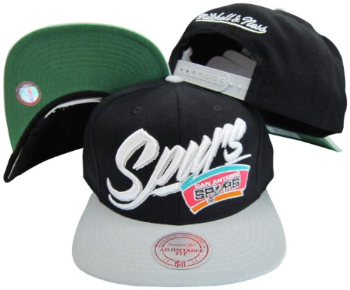 San Antonio Spurs Diaganol Script Black/Grey Two Tone Plastic Snapback Adjustable Plastic Snap Back Hat/Cap (Spurs Reebok Antonio San)