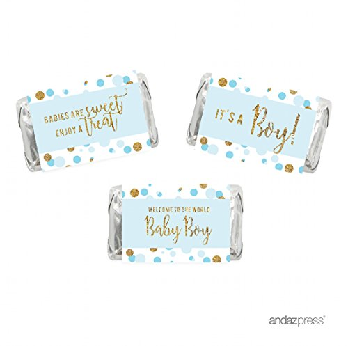 Andaz Press Light Blue Gold Glitter Boy Baby Shower Party Collection, Chocolate Minis Labels, Fits Hershey's Miniatures Party Favors, 36-pack