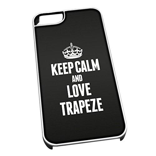Bianco cover per iPhone 5/5S 1937nero Keep Calm and Love trapezio