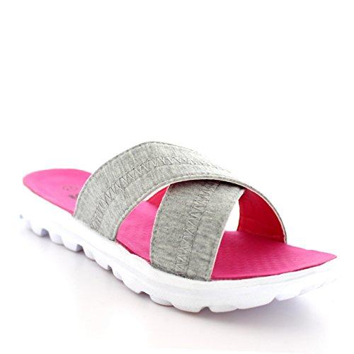Mujer Ligero Deportes Punta Abierta Floral Para Caminar Separar Mulas Sandalias Blanco/Gris/Rosa