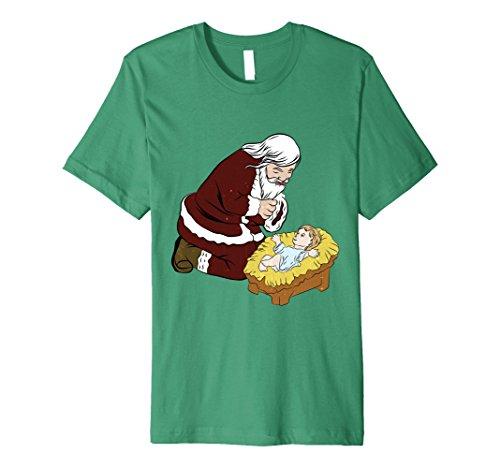 Mens Kneeling Santa Claus With Baby Jesus T-Shirt Christmas Gift Medium Kelly Green