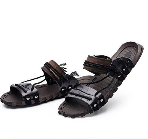 En Fashion D'été Slipperszhangm Sandales Et Uk Liangxie Nouveaux Mot 2018 Pantoufles Hommes 1 Cuir Noir Pour qXxtSwPSg