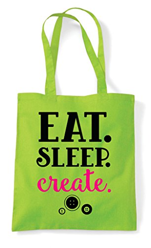Statement Shopper Bag Sleep Eat Create Tote Crafting Lime tY48x6Sq