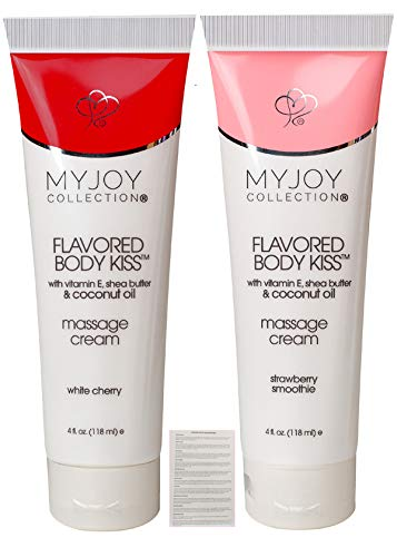 assage Cream Oil in 2 Delicious Flavors, White Cherry and Strawberry Smoothie 4 Ounce Elegant and Discreet Tubes with Playtime Seduction Tips for Sensual Massage ()