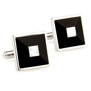 Classic black and white enamel square cufflinks