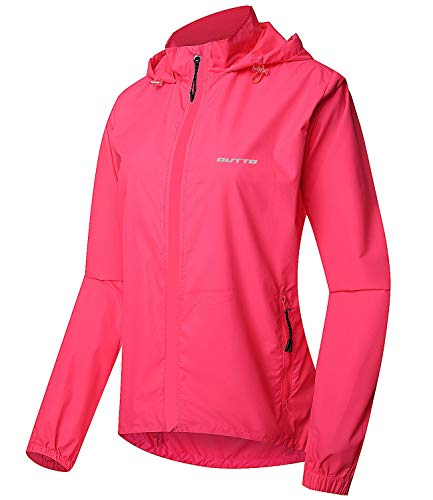 (Outto Women's Cycling Jacket Convertible UPF50+ Windproof with Zip Off Sleeves(X-Large,180012W Pink))