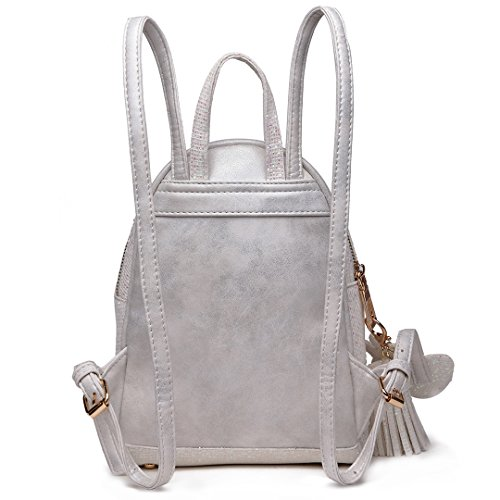 Bag Ladies Backpack 1763 Leather PU Shoulder Beige Rucksack Miss Fashion Lulu AXw5Wzq8
