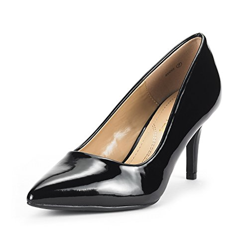 (DREAM PAIRS Women's KUCCI Black Pat Classic Fashion Pointed Toe High Heel Dress Pumps Shoes Size 8.5 M US)