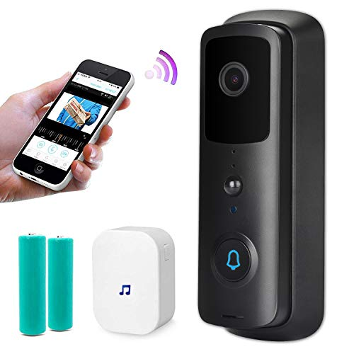 Wireless Video Doorbell, Free Cloud Storage Smart Doorbell with Chime, 720P HD WiFi Security Camera, Two-Way Talk, PIR Motion Detection & Video Night Vision, App Remote Control for iOS/Android (Black)