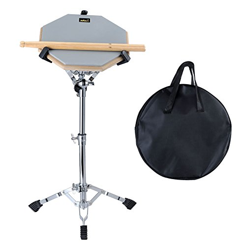 "ADM 12"" Silent Snare Drum Practice Pad Percussion Set Double Sides Buddle with Stand Sticks Bag, Grey"