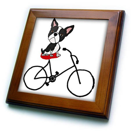 3dRose Funny Cute Boston Terrier Puppy Dog Riding Bicycle Framed Tile, 6