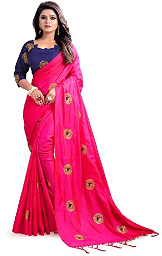 Mirraw Traditional Designer Pink Paper Silk Embroidery Saree for Women with Unstitched Blouse ()