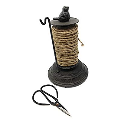 Miller Horticultural Cast Iron Bird Twine Holder Dispenser with Jute Spool and Scissors, 8 Inches Tall : Garden & Outdoor