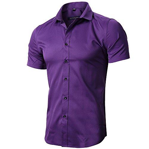 FLY HAWK Casual Button up Slim Fit Collared Formal Short Sleeves Shirts, Dark Purple US (Man Purple Dress)