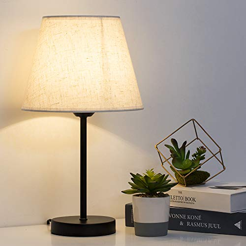 HAITRAL Bedside Table Lamps - Small Nightstand Lamps Set of 2 with Fabric Shade Bedside Desk Lamps for Bedroom, Living Room, Office, Kids Room, Girls Room, Dorm 15 Inches - Black (HT-TH28-27X2)