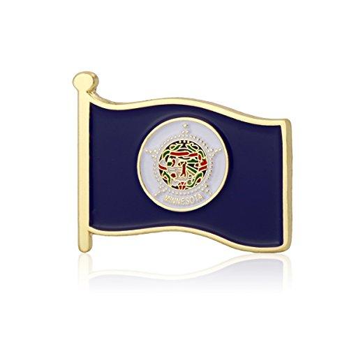 GS-JJ Minnesota Flag Enamel Lapel Pin (1 Piece) (Lapel Pin Minnesota)