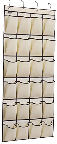 MISSLO Over The Door Shoe Organizer 24 Large Fabric Pocket Closet Accessory Storage Hanging Shoe Hanger, Beige]()