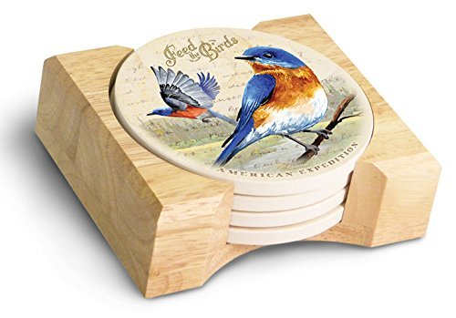 (Vintage Bird Series Absorbent Stone Coaster Set with Wooden Butcher Block Holder (Eastern Bluebird Watercolor) by American Expedition)