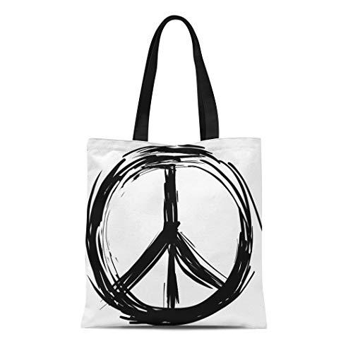 Semtomn Canvas Tote Bag Sign Peace Symbol Drawn Hand Love Brush Sketch Circle Durable Reusable Shopping Shoulder Grocery Bag