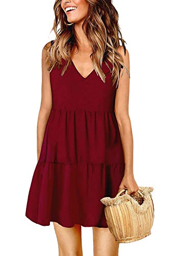 Summer Dresses for Women V Neck Sleeveless Sundress Pleated Loose Swing Casual T Shirt Dress Wine Red