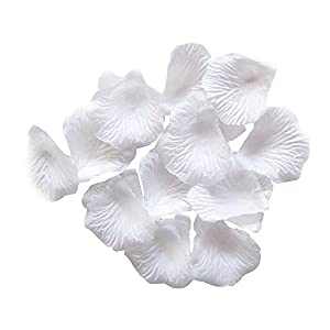 Adorox 200pcs Rose Petals Artificial Flower Wedding Party Vase Decor Bridal Shower Favor Centerpieces Confetti (White) 109