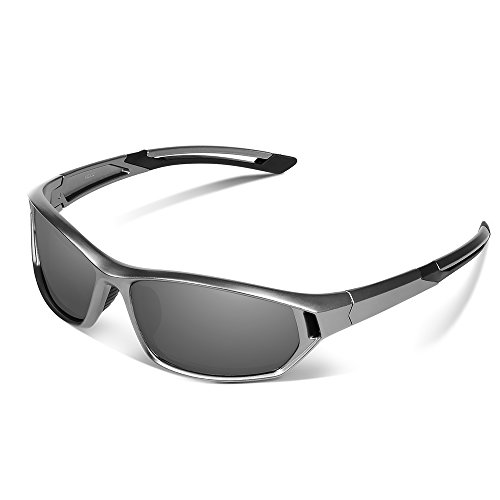 Ewin E31 Polarized Sports Sunglasses for Men Women Golf Travel Driving Fishing Trekking Walking Shopping (Silver&Grey)