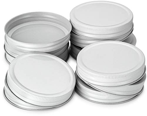 KooK Mason Jar Lids, Wide Mouth, Pack of 12. (white) - Jar White Lid