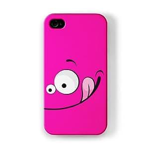 Vector Style Big Happy Smiling Face on Pink Funda Completa de Alta Calidad con Impresión 3D, Snap-On, Diseño Negro Formato Duro parar Apple® iPhone 4 / 4s de UltraCases