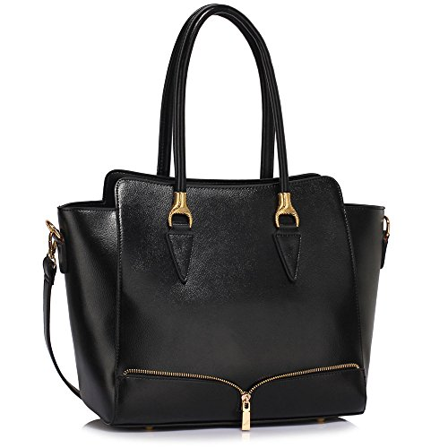 Bag With Faux Design Handbag 1 Leather New Tote Grab Designer Strap Womens Black Ladies Handbag Shoulder w8xwP