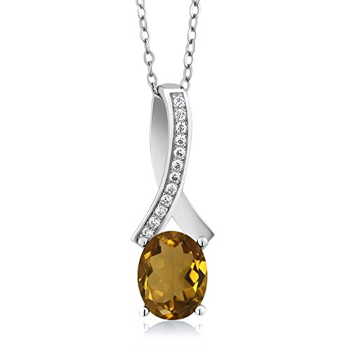 1.52 Ct Oval Whiskey Quartz 925 Sterling Silver (Sterling Silver Whiskey)