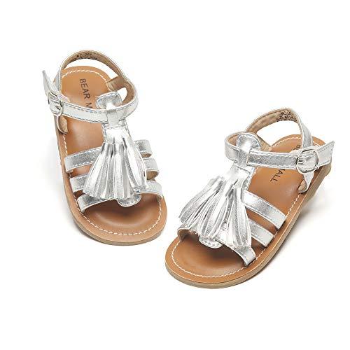 Silver Baby Bear - Bear Mall Girls Shoes Soft Rubber Princess Flat Shoes Summer Baby Girl Sandals(Toddler/Little Kid)