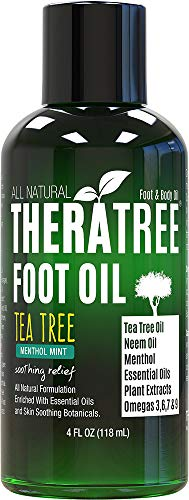 Foot Oil with Tea Tree Oil, Neem Oil, and Menthol Mint - Helps Skin Irritation and Foot Odor - Moisturizing - by Oleavine TheraTree