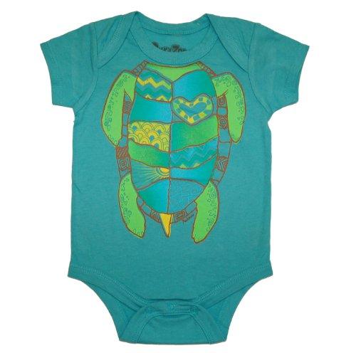 Peek A Zoo Infant Baby Become an Animal Short Sleeve Onesie Bodysuit - Turtle Carribbean Blue (0/6 -
