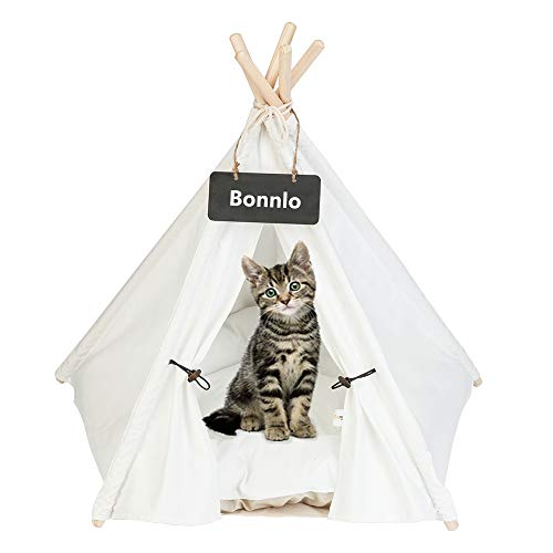 Bonnlo Pet Teepee Dog(Puppy) & Cat Bed - Portable Dog Tents & Pet Houses for Puppy or Cat with Thick Cushion and Blackboard 28in Cat Teepee Tent(White One with Cushion)