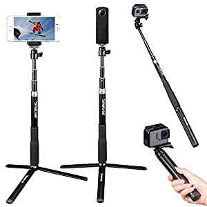 Smatree Telescoping Selfie Stick with Tripod Stand for GoPro Hero 6/5/4/3+/3/2/1/Session Cameras, Ricoh Theta S/V, M15 Cameras, Compact Cameras and Cell Phones