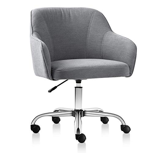 Rimiking Home Office Chair Upholstered Desk Chair with Arms for Conference Room or Office (Grey)