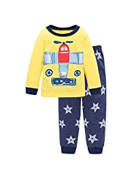 Little Boy's Plane Pajamas, 100% Cotton 2 Piece Long Sleeve Sleepwear Set(Yellow 7T)