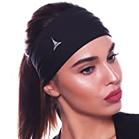 "Multi Style 5"" Wide Women Headband / Sweatband Best for Sports, Workout, Yoga and Fashion. Thick Elastic Hair Band Included. Ultimate Athletic Performance & Customizable Style"
