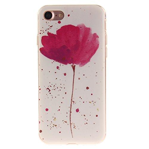 Pour Apple iPhone 7 4.7in pouce Cas, MCHSHOP Ultra-mince TPU Silicone Cover souple Phone Housse Coque de protection pour iPhone 7 4.7inpouce - 1 gratuit Touch Pen (Violet Yolanda Flower)