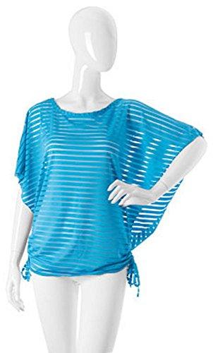 Izzy & Roo Coco & Carmen Chic Fashionable Shadow Stripe Sheer Side Tie Pullover Shirt (Aqua) - Shadow Stripe Tie