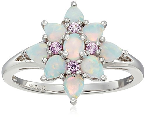 Sterling Silver Created Opal and Created Pink Sapphire Flower Ring, Size - Ring Pink Sapphire Flower