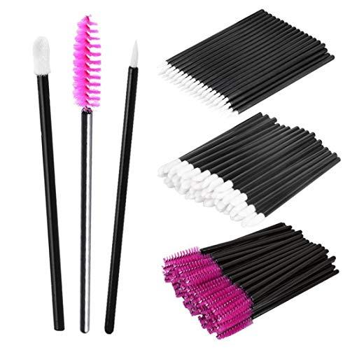 AOXIANG Disposable Makeup Applicators, 150 Pieces Disposable Lipstick Applicators Mascara Wands Eyeliner Brushes Makeup Brush Kit (Hot Pink)