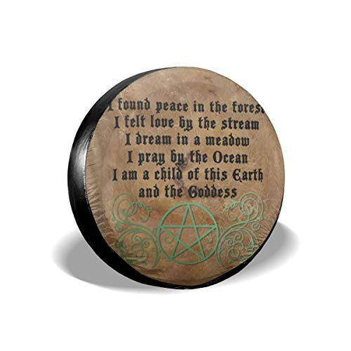 Bizwheo Beautiful Wiccan Poem Spare Tire Cover Protector Polyester Universal Spare Wheel Tire Covers