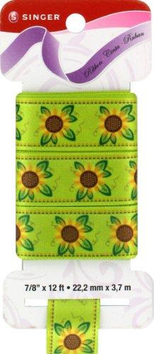 12' Sunflower (Singer Satin Ribbon, 7/8-Inch by 12-Feet, Sunflower Print, Spring Green)