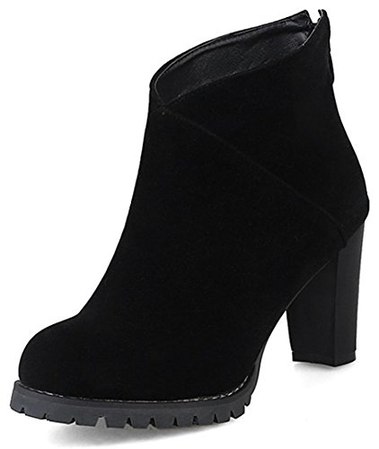 IDIFU Womens Elegant Pointed Toe Zip Up High Chunky Heel Faux Suede Short Ankle High Boots Black E1XdpXf