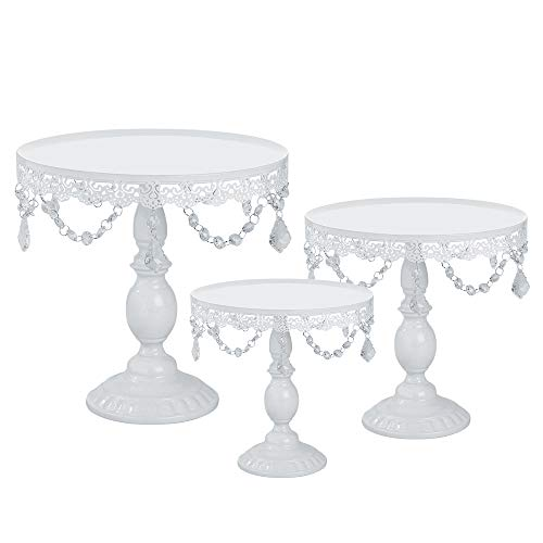 stals Cake Stand Cupcake Tower Stand Wedding Plates Set Metal Round Party Dessert Display Décor with Crystals Beads (3pcs, White) ()