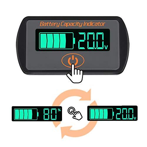 Icstation Battery Monitor Meter, DC 5V-66V Lithium Lead acid iron phosphate Battery Capacity Tester Percentage Level Voltage Monitor Indicator 12V 24V 36V 48V 60V LCD Display Module (Battery Box Meter)