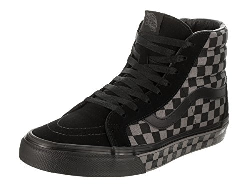 Vans Unisex Adults' Sk8-hi Reissue Leather Trainers Black/Pewter/Checkerboard